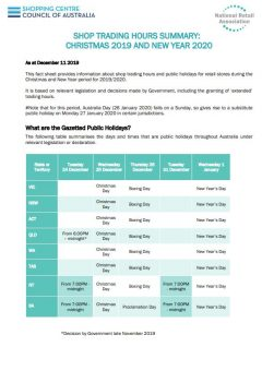 National Christmas and New Years Trading Hours 2019-2020 Factsheet Summary