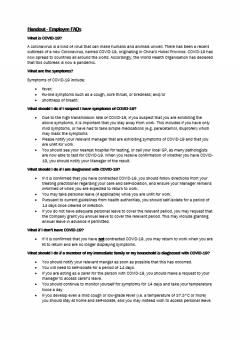 Handout | Employee FAQ's