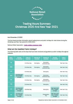 Christmas and New Years Trading Hours 2020-2021 - National