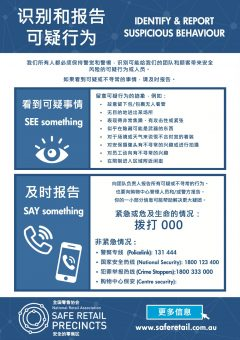Safe Retail Precincts: Identify & Report Suspicious Behaviour (Chinese)