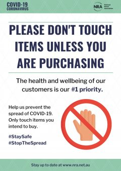 Covid-19 Campaign Poster - Please don't touch products unless purchasing
