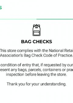 Bag Check Condition of Entry Signage